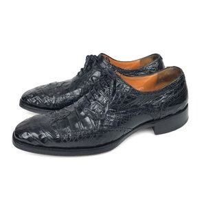 Mezlan Crocodile 8 M Wingtip Oxford Black Shoes